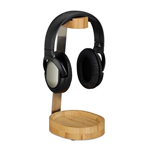Relaxdays Kopfhörer Ständer, Bambus, Metall, Headset Halterung On & Over Ear Kopfhörer, Ablage, elegantes Design, natur