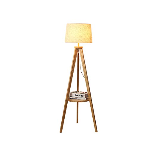 XZHU LED Retro Floor Lamps, Antique Creative Tripod Wooden with Shelves Fabric Reading Lighting Standing Lamp Japanese Modern Living Room Study Plug-in Floor Table Light
