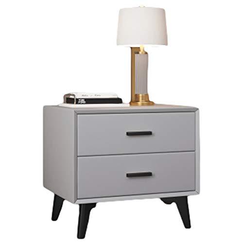 Mesita de Noche Luz de Lujo Simple Ins Gabinete de Almacenamiento de Hierro Forjado de Madera Maciza Moderno Simple Mesita de Noche pequeña para Dormitorio