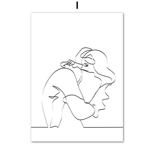 LiMengQi2 Disegno a tratteggio Astratto Amore Ragazza Figura Tela Pittura nordica Poster e Stampe Immagini murali per la Decorazione del Soggiorno (Senza Cornice)