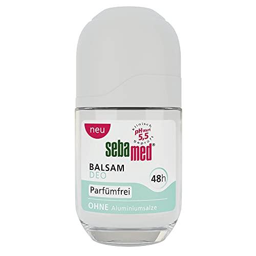 Sebamed Balsam Deo Parfumfrei Roll-on, zuverlässiger Schutz vor Körpergeruch, 48h Wirkung, besonders hautverträglich, frei von Parfum, ohne Aluminiumsalze, 50 ml