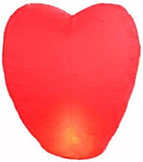 Domire 10 Pcs Red Heart Shape Flying Sky Lanterns, Traditional Chinese Flying Glowing Lanterns