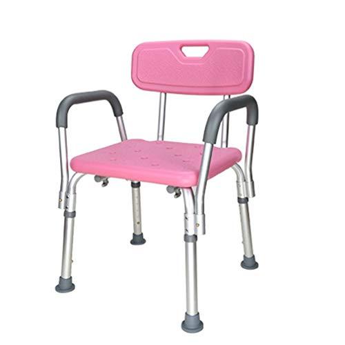 Antislip badbank, verstelbaar, met rugleuning en arm, badbank, licht en antislip, draagbaar. Roze