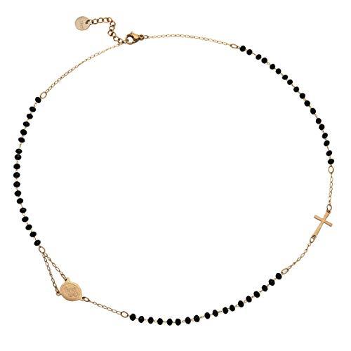 Beloved  Collar mujer y unisex rosario – Colgante Gargantilla de acero inoxidable con cristales briolé – Varios colores – Virgen y cruz – Rosa Gold Cristales negros