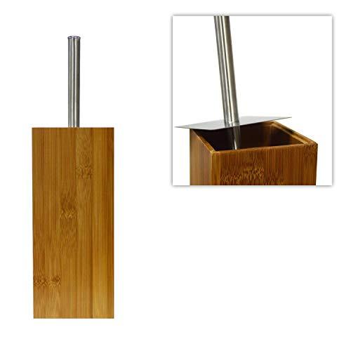 DRULINE Toilettenbürste inkl. Halter aus Bambus 10 x 10 x 35 cm Natur Silber