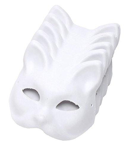 StyleCoS お面 半顔 狐面 猫面 仮装 コスプレ ペイント 紙パルプ製 (猫面, 5枚セット)