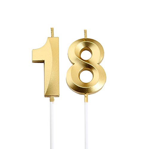 18th Birthday Candles,Gold Number 18 Cake Topper for Birthday Decorations Party Decoration