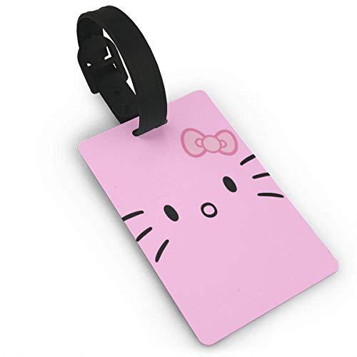 Etiquetas de equipaje con cara de Hello Kitty, maleta de mano, identificación de viaje, etiqueta de equipaje