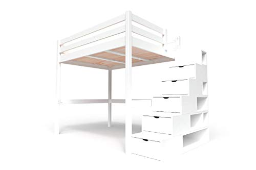 ABC MEUBLES - Hochbett Sylvia mit Treppenregal Holz - Cube - Weiß, 140x200