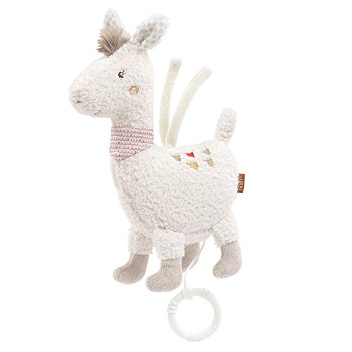 Fehn 058062 Speeldoos Lama Maya – knuffelige speeldoos met uitneembaar speelwerk – met bevestiging – voor baby's vanaf 0 maanden – maat: 24 cm