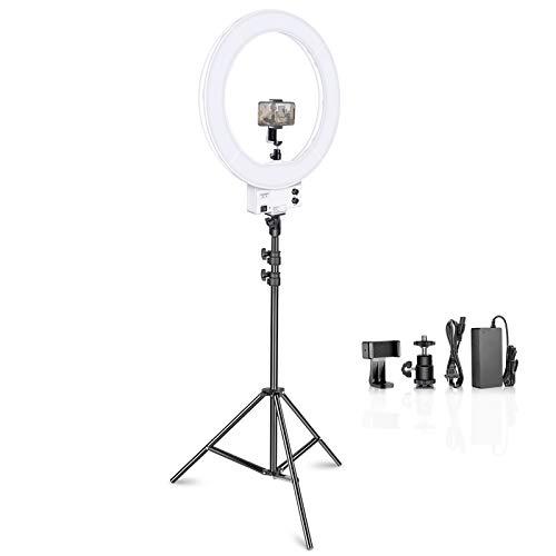 Neewer 18inch白いLEDリングライト ライトスタンド照明キット付き 調光 50W 3200-5600K ソフトフィルター、ホットシューアダプター、スマホホルダー付き メイクアップ、ビデオ撮影用(キャリングバッグなし)