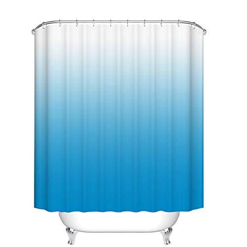 JOOCAR Design Duschvorhang, Ombre buntes Design, blau-grau, wasserdichter Stoff, Badezimmer-Dekor-Set mit Haken