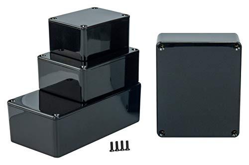 MB1 - Caja de plástico ABS con Tapa, Caja Multiusos, Caja de módulos, (LxAxA) 80 x 62 x 40 mm, con Ranuras para Placas de Circuito (Costillas), Negro - Pulido