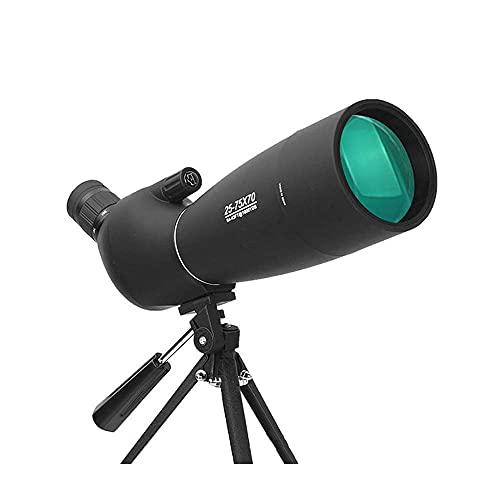 JIEZ Binoculares 25-75x70 HD Telescopio Resistente al Agua con trípode y Adaptador para teléfono y Bolsa de Transporte Telescopio con visión Nocturna BAK4 Ocular en ángulo de 45 Grados para obser