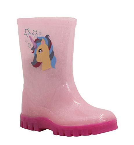 Girls Childrens Kids Infants Mid Calf Pink Flowers Waterproof Wellington Wellies Puddle Boots UK Sizes 3-10 (UK Child 4, Pink Unicorn, 4)