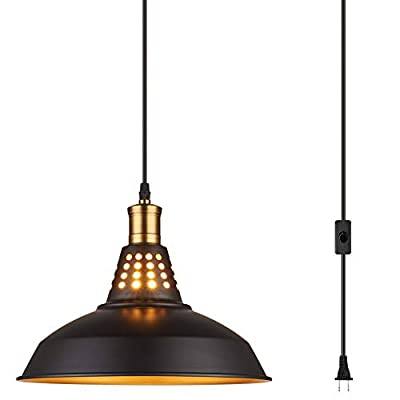 Amabao Lighting, Black Finish Metal Industrial Plug in Ceiling Pendant Light with On/Off Switch, Bulb Not Included (1-Pack)