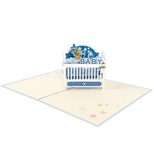 Favour Pop Up wenskaart voor de geboorte. Een filigraan kunstwerk dat zich bij het openen als babybed ontvouwt. TN029