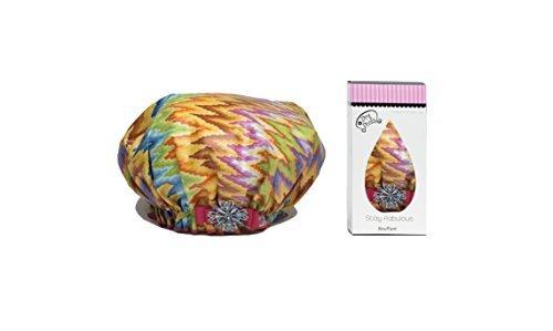 Dry Divas Designer Shower Cap For Women - Washable, Reusable - Large Bouffant Cap With Vintage Jeweled Brooch (Spring Fling) by Dry Divas