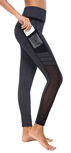 Flatik Damen Netzoberfläche Sport Gym Yoga Laufen Fitness Leggings Hose, Dunkelgrau/Schwarz (0903), M