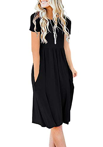 DB MOON Women Summer Casual Short Sleeve Dresses Empire Waist Dress with Pockets (Black, M)