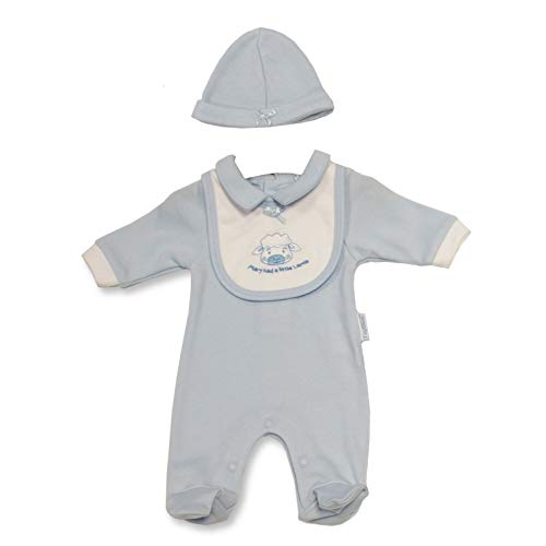 Baby meisjes, baby jongens, 3-delige set, rompers, slabbetjes, muts, babyuitrusting, vroege geboorte, gemengde producten van katoen, klein lam design, borduurwerk 3-5 lbs Blauwe lam.