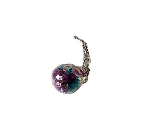 Collar de bola de cristal, collar de terrario, joyería floral, collar de dama de honor, joyería botánica