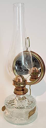 Oberstdorfer Glashütte Mittlere Öllampe mit Spiegel antiker Stil Glas Wandlampe Tischlampe Petroleumlampe Höhe ca. 32,5 cm