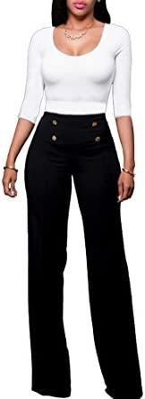 LKOUS Women s Stretchy High Waisted Wide Leg Button Down Pants product image