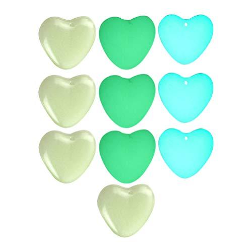 EXCEART 10 Piezas de Dijes de Piedras Preciosas de Corazón Que Brillan en La Oscuridad Colgantes de Cuentas Luminosas Joyería para DIY Collar Pulsera Pendientes Fabricación de Colores