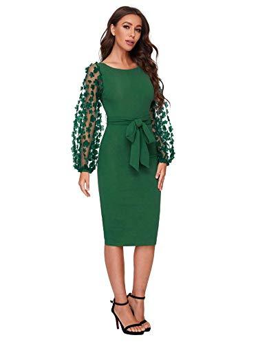 SheIn Women's Elegant Mesh Contrast Bishop Long Sleeve Bodycon Pencil Dress Large Dark Green
