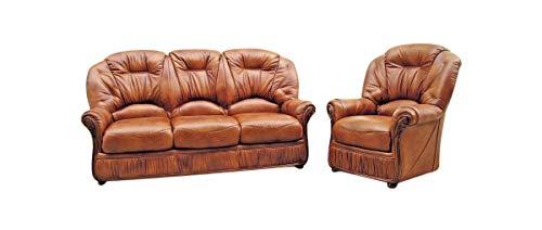 Debora 3-Sitzer + Sessel, handgefertigt, echtes italienisches Leder, Hellbraun