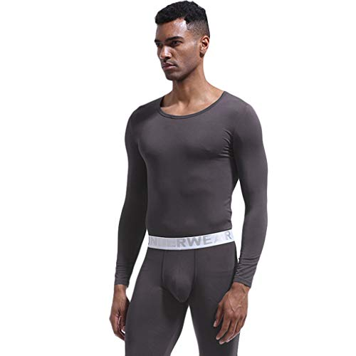 WanYangg Dünne Atmungsaktives Herren Unterwäsche Wärmende Unterwäsche Winter Funktionsunterwäsche Set Seamless Thermounterwäsche Thermal Underwear Set V-Neck 2# dunkelgrau XL