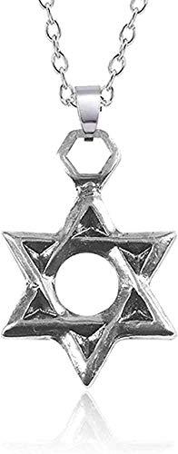 ZGYFJCH Co.,ltd Collares Collar de Moda Punk Religioso Hexagrama Collar de Acero Inoxidable para Hombres Mujeres Unisex Símbolo hindú Collares Pendientes Estrella Joyería David
