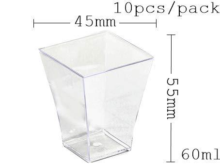 HUANGSAN Vajilla de plástico desechable, Mini Tazas de Postre retorcidas de 75 * 62 mm / 100 ml, 60 Piezas/Paquete, como en la Imagen