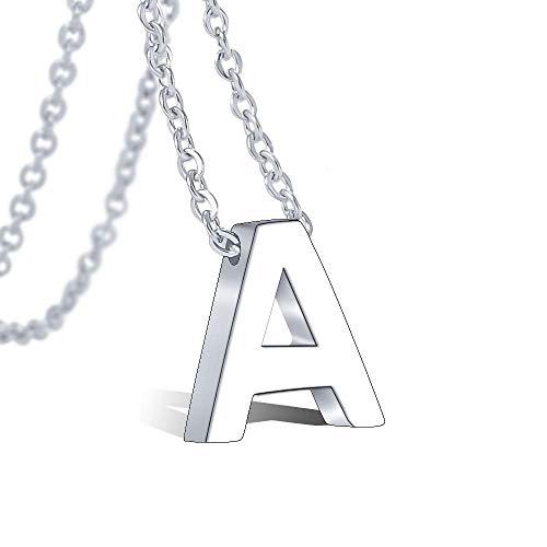 VU100 Collar Inicial A para Mujer Niñas Colgante Letra de Acero Inoxidable Plata, 45cm Cadena...