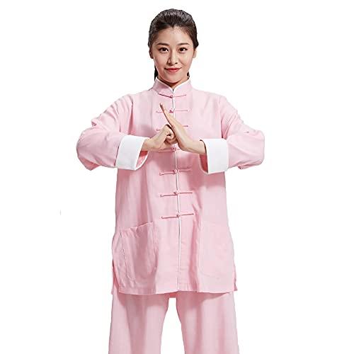 Tai Chi Kleidung Damen - Herren Kung Fu Kampfsportbekleidung Leinen Baumwolle Langarm Frühling Sommer Morgen Sportswear Übergröße,Pink-3XL