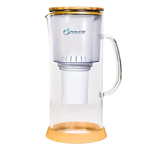 Pitcher of Life - Glass Alkaline Water Filter Pitcher with Bamboo Lid Stainless Steel Underside - Super Alkaline Water Filter Pitcher - Premium Water Purifier and Alkalizer - by LIFE IONIZER
