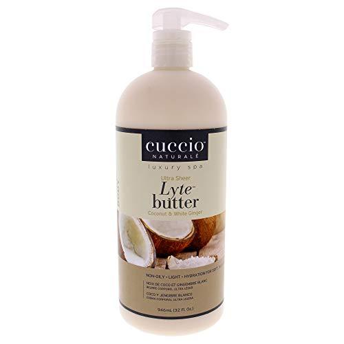 Cuccio Ultra Sheer Lyte Butter Noix de Coco/Gingembre Blanc pour Unisexe Beurre Corporel 32 oz