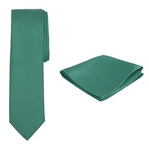 Jacob Alexander Solid Color Men's Slim Tie and Hanky Set - Kelly Green