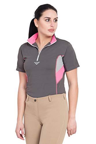 TuffRider Ladies Neon Ventilated Mock Zip Short Sleeve Polo Shirt