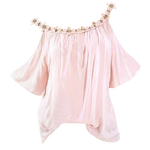 Bringbring Damen Bluse Einfarbig Schulterfrei Kurzarm Damenblusen Tunika Blusenshirt Hemd Elegant Oberteile Tops T-Shirt