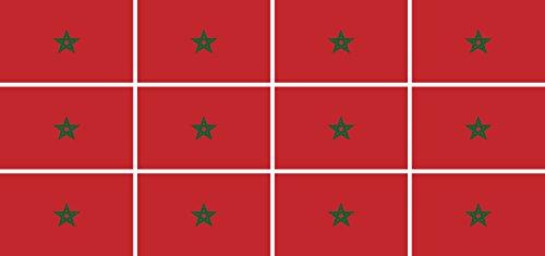 Mini Aufkleber Set - Pack glatt - 50x31mm - Sticker - Marokko - Flagge - Banner - Standarte fürs Auto, Büro, zu Hause & die Schule - 12 Stück