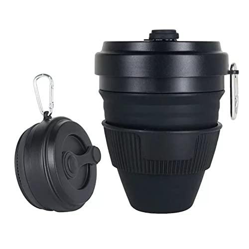 OESFVT 450 ml portátil plegable silicona taza de agua tazas telescópicas viaje al aire libre tazas de café botella plegable taza de té taza de mano con tapa