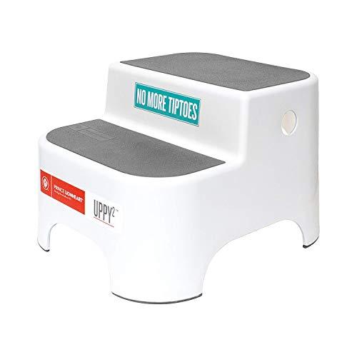 Prince Lionheart Uppy2® |Kids Two-Step Stool| Versatile| Anti-Slip Top & Base | Potty Training | Toddler Stool | Carry Handles | Kitchen & Bathroom – Galactic Grey