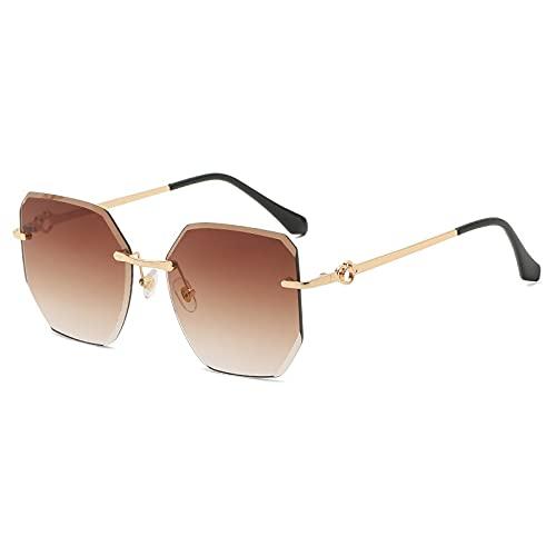 FENGHUAN Gafas de sol Retro Cat Euye para mujer, gafas de sol graduadas sinmontura a la moda, lentes de corte,gafas para mujer,marrón