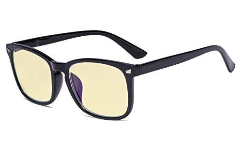 Eyekepper Blue Light Blocking Reading Glasses with Yellow Tinted Filter Lens - Square Nerd Computer Readers Women - Black +1.75