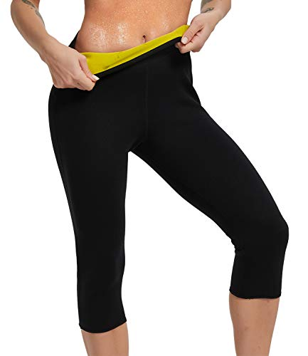 IFLOVE Womens Body Shaper Sauna Slimming Pants Hot Thermo Neoprene High Waist Fat Burning Sweat Capris Workout Shapers for Weight Loss XL