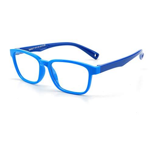 Leiouser - Gafas de sol para niños, antiluz azul, transparente, transparente, marco óptico flexible, UV400