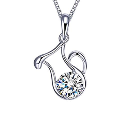 Ruby569y 12 Sternbild-Halskette, versilbert, mit Strasssteinen besetzt, 12 Sternbild-Anhänger, DIY-Schmuck, Dekoration – Wassermann