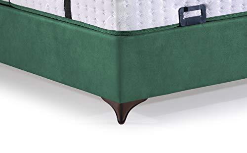 Cama con somier Rhodos con canapé de tela, cama doble color verde oscuro, superficie de descanso 160 x 200 cm